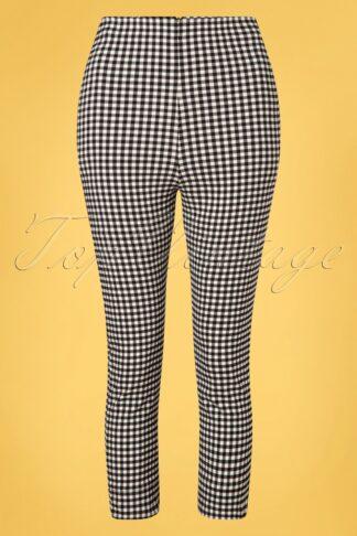 50s Gina Gingham Capri Pants in Black and White