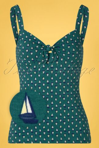 50s Giselle The Pond Top in Lapis Blue