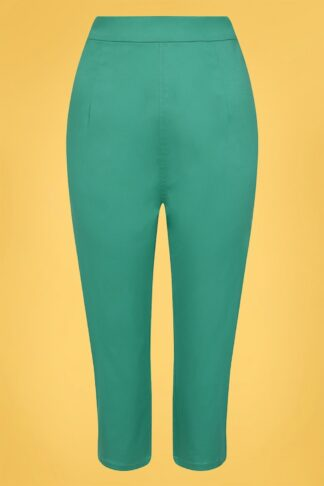 50s Gracie Classic Cotton Capris in Teal