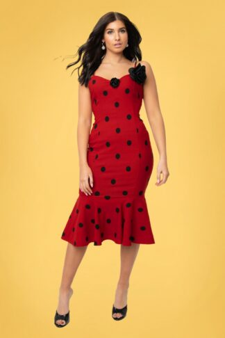50s Grease Rizzo Polkadot Wiggle Dress in Red and Black