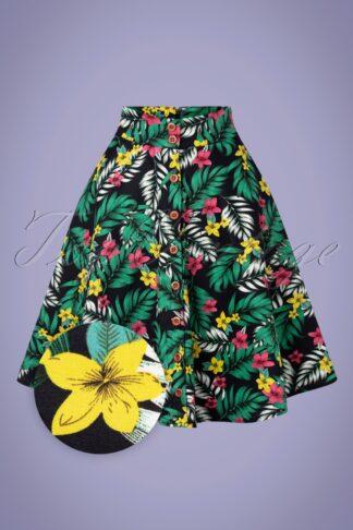 50s Hanalei Button Down Swing Skirt in Hawai Black