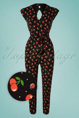50s Hello Fritjes Jumpsuit in Cherry Ladybug Black