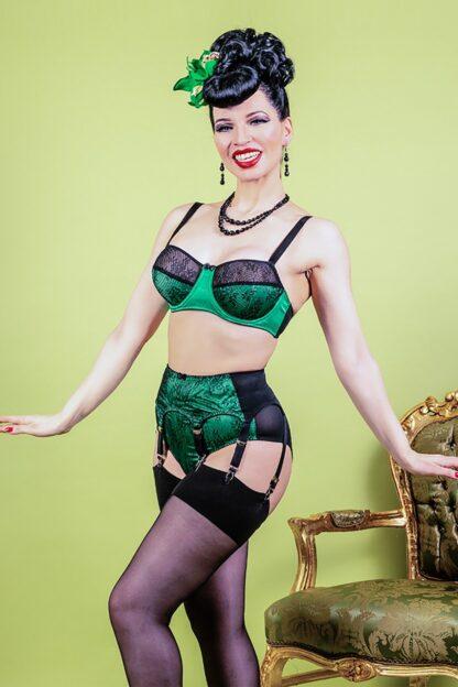 50s Ingrid Lace Suspender Belt in Green