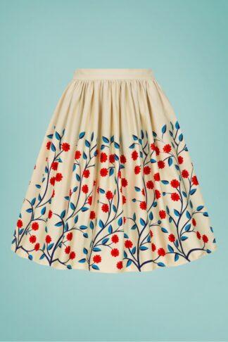 50s Jasmine Danube Floral Swing Skirt in Cream