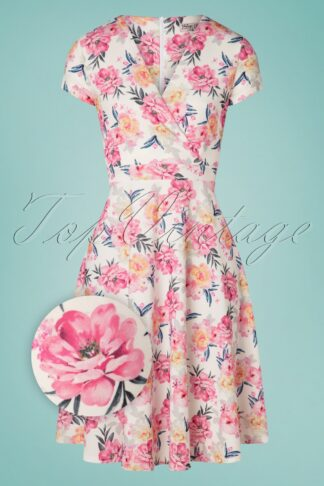 50s Kathya Floral Swing Dress in Ivory