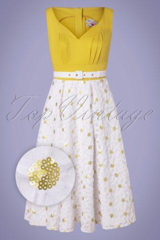 50s Kesha Swing Dress in White and Mustard