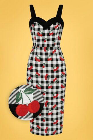 50s Kiana Gingham Cherries Pencil Dress in Black and White
