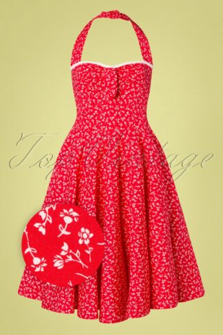 50s Kimberley Floral Swing Dress in Red