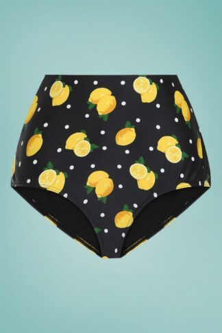50s Lemon Polka High Waist Bikini Brief in Black
