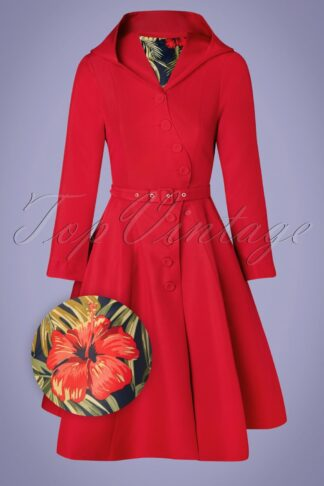 50s Lorily Rose Swing Trenchcoat in Red and Floral