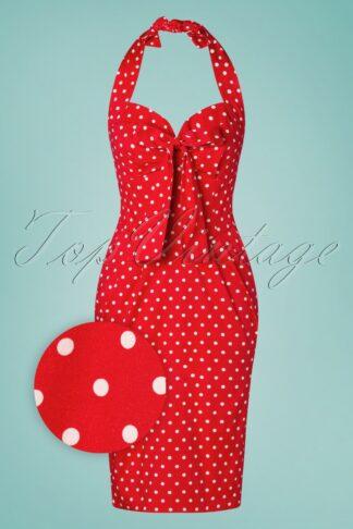 50s Lyric Polkadot Pencil Dress in Red