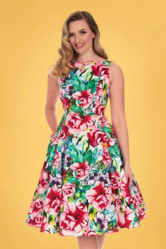 50s Margot Floral Swing Dress in Multi