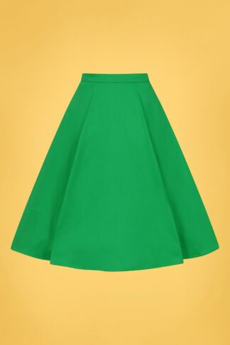 50s Matilde Classic Cotton Swing Skirt in Green