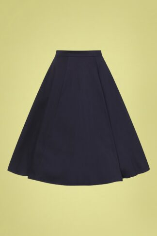 50s Matilde Classic Cotton Swing Skirt in Navy