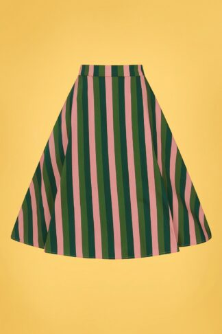 50s Mattie Palm Stripe Swing Skirt in Pink and Green