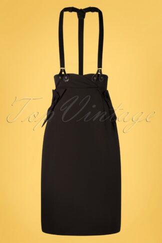 50s Nadia Bow Suspender Pencil Skirt in Black