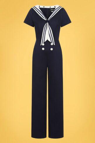 50s Nene Sailor Jumpsuit in Navy