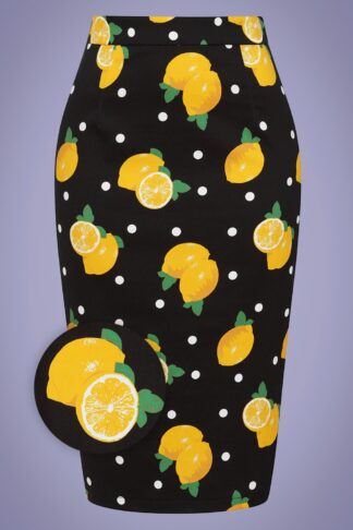 50s Polly Polka Lemon Pencil Skirt in Black