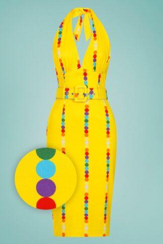 50s Ramona Rainbow Polka Stripe Pencil Dress in Yellow