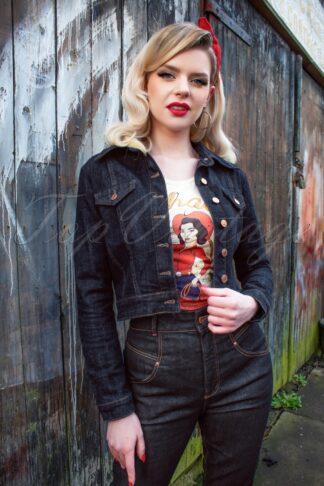 50s Sadie Denim Jacket in Dark Blue