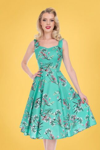 50s Sandra Floral Swing Dress in Turquoise