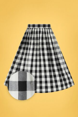 50s Victorine Gingham Swing Skirt in Black and White