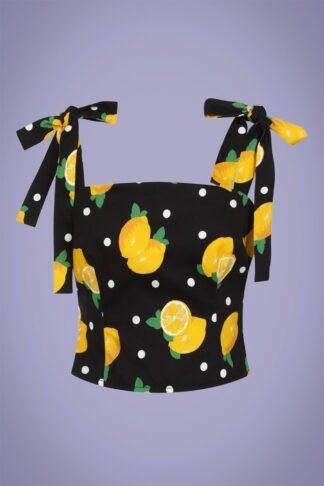 50s Ylenia Polka Lemon Top in Black