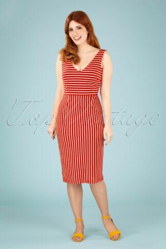 60s Lucia Breton Stripe Dress in Chili Red