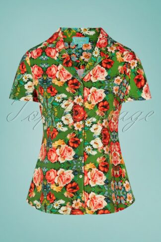 60s Rose Blouse in Green