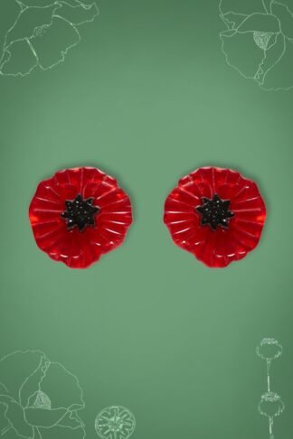 TopVintage Exclusive ~ 60s Poppy Field Earrings in Red