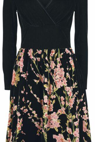 Voodoo Vixen Cheryl Velvet Dress With Chiffon Rose Flocking Mittellanges Kleid schwarz