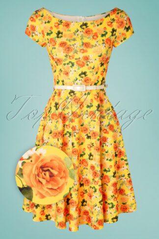 50s Arabella Floral Swing Dress in Yellow
