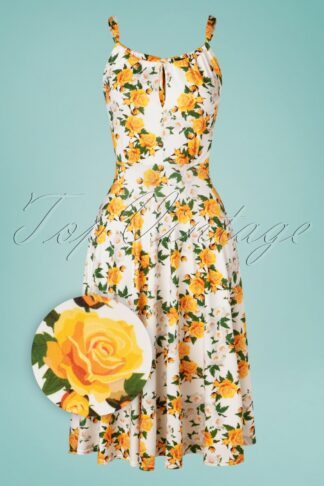 50s Aurorah Floral Swing Dress in Ivory and Yellow