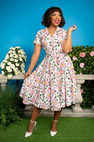50s Caterina Flower Power Swing Dress in White and Pink