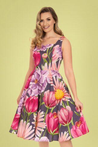 50s Denise Floral Swing Dress in Purple