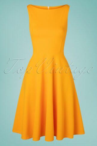 50s Frederique Swing Dress in Honey Yellow