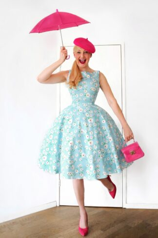 TopVintage exclusive ~ 50s Adriana Floral Swing Dress in Light Blue