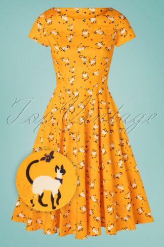 TopVintage exclusive ~ 50s Adriana Short Sleeve Cats Swing Dress in Honey Orange
