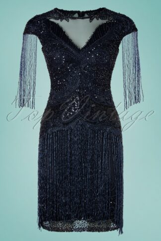 20s Sybill Fringe Flapper Dress in Navy