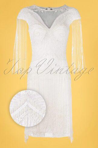 20s Sybill Fringe Flapper Dress in White