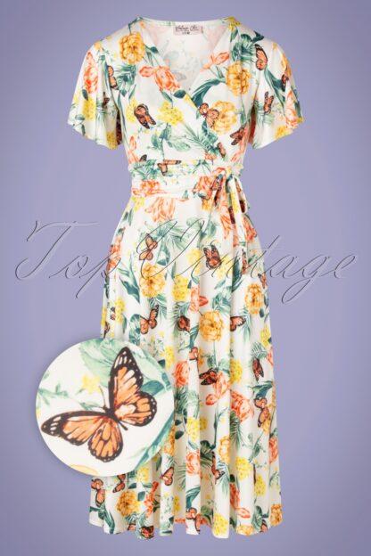 40s Irene Floral Butterfly Cross Over Swing Dress in Ivory
