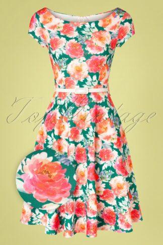50s Arabella Floral Swing Dress in Green