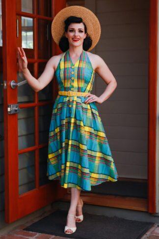 50s Basillia Sun Summer Swing Dress in Blue and Yellow
