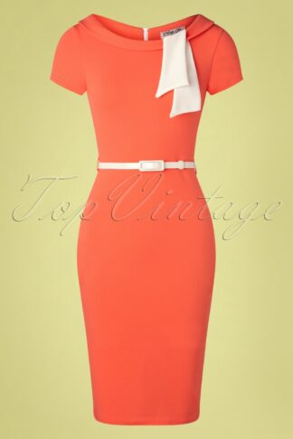 50s Beverly Pencil Dress in Coral