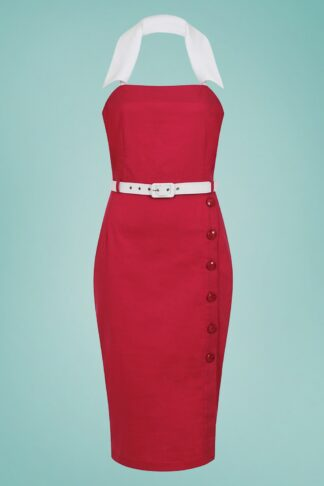 50s Dorabella Pencil Dress in Red