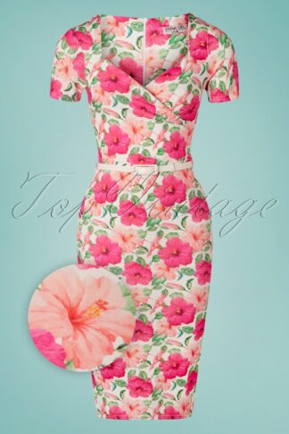 50s Femmy Floral Pencil Dress in Ivory and Pink