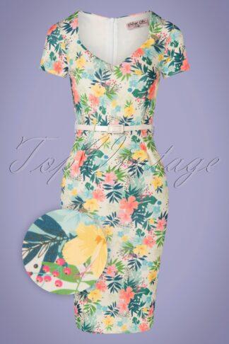 50s Fenny Floral Pencil Dress in Cream