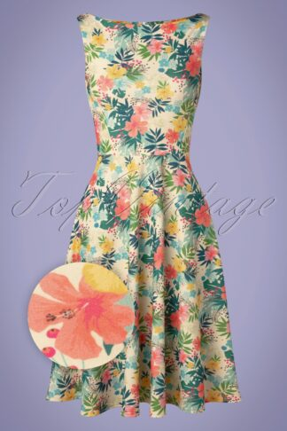 50s Frederique Floral Swing Dress in Ivory