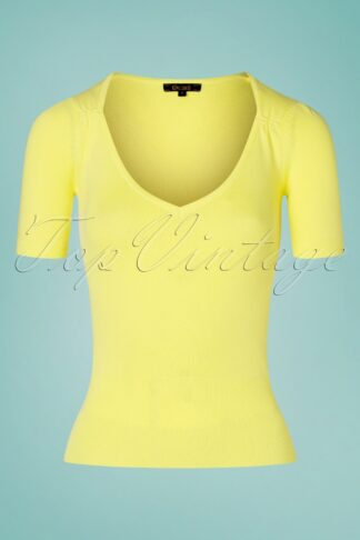 60s Diamond Puff Cottonclub Top in Yellow Pear
