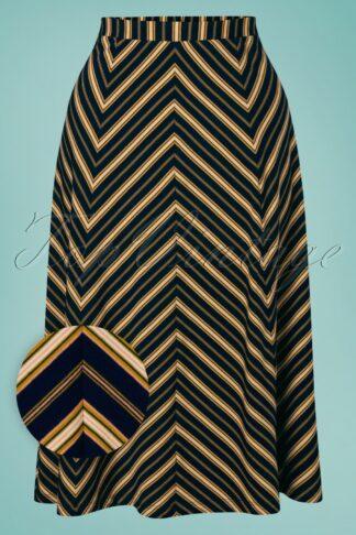 60s Juno Gonzalez Stripe Panel Skirt in Blue